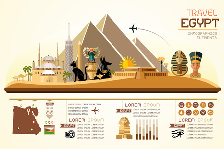 Info graphics travel and landmark egypt template design. Concept Vector Illustration Çizim