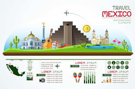 mexico: Info graphics travel and landmark mexico template design.