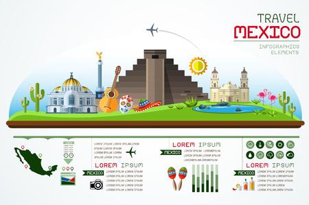 Información de viajes gráficos y diseño hito plantilla México.