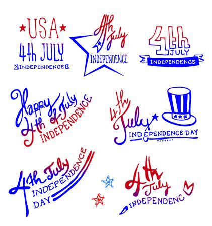 7 월 독립 기념일 기념일 로고 낙서 일러스트