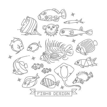 개요 스타일 디자인 요소와 물고기 라인 아이콘