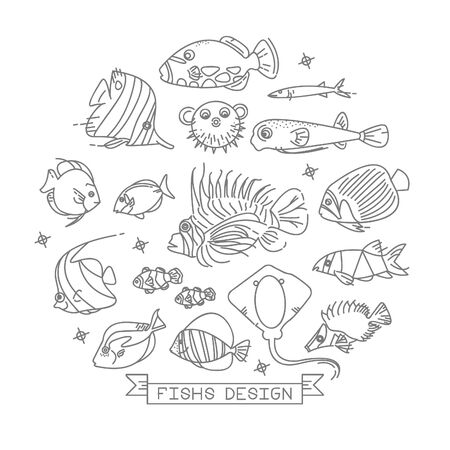 Fish line icons with outline style design elements