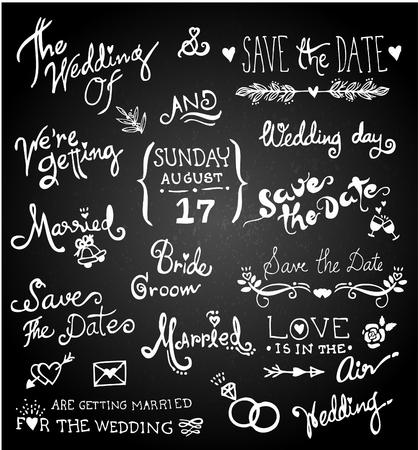 Set of chalk hand drawing  wedding on blackboard.