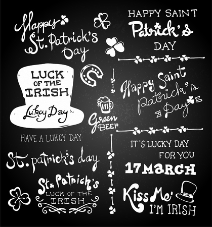 Set of chalk hand drawing St. Patrick's Day on blackboard. Stock Illustratie