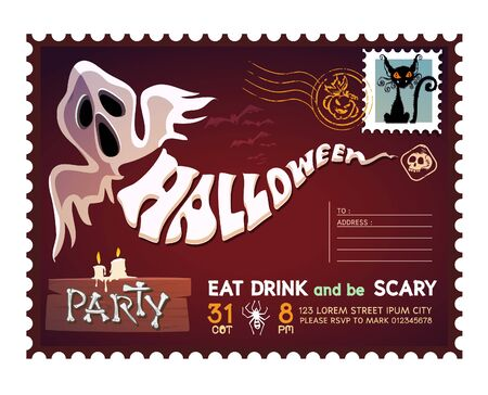 Happy Halloween Postcard invitation background design layout.   イラスト・ベクター素材