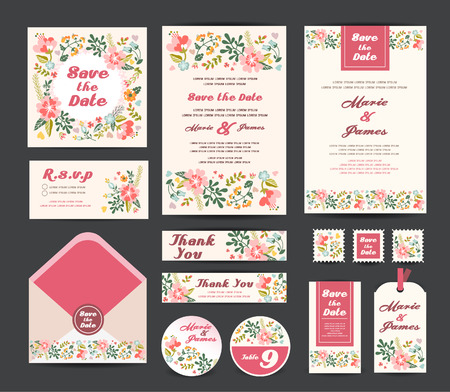 floral backgrounds: Wedding invitation vector