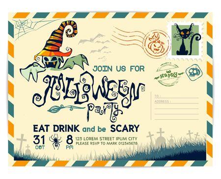 De gelukkige Prentbriefkaar van Halloween uitnodiging achtergrond ontwerp lay-out.