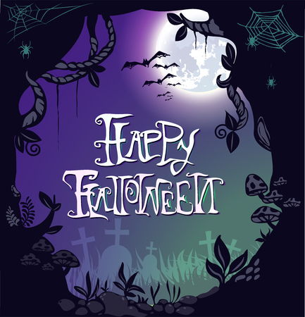 Happy Halloween Postcard invitation background design layout. vector