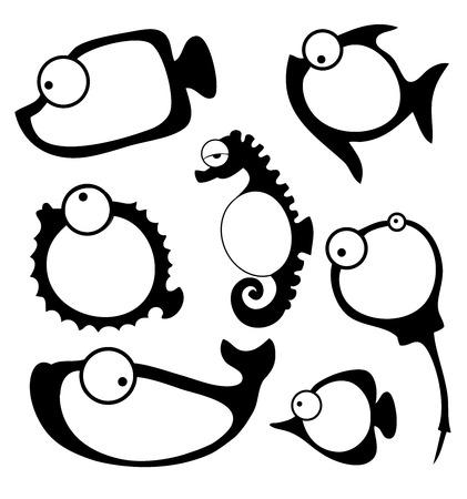 Vector illustration of fish frame Çizim