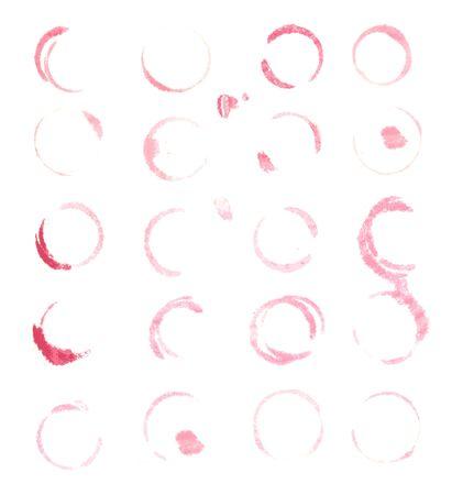 20 와인 얼룩, 흰색 배경, 벡터 일러스트 레이 션에서 절연 일러스트