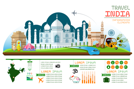 india culture: Info graphics travel and landmark India template design.