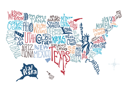 USA hand drawn map vector illustration, doodle vector Çizim