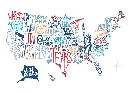 USA main carte vecteur illustration tirée, vecteur doodle Banque d'images - 47655191