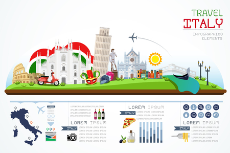 Info graphics travel and landmark italy template design. Concept Vector Illustration Ilustração