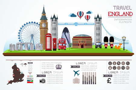 Info graphics travel and landmark england template design.  Vector Illustration Çizim