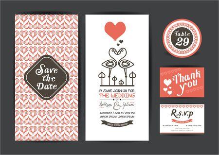 Huwelijkssjabloon collection.Wedding uitnodiging