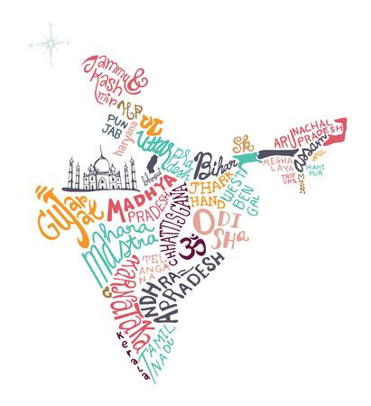 india de hand getekende kaart vector illustratie, krabbel vectorillustratie