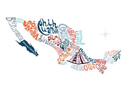 Mexico met de hand getekende kaart vector illustratie, krabbel vectorillustratie Stock Illustratie