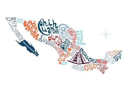 mexico hand drawn map vector illustration, doodle vector illustration