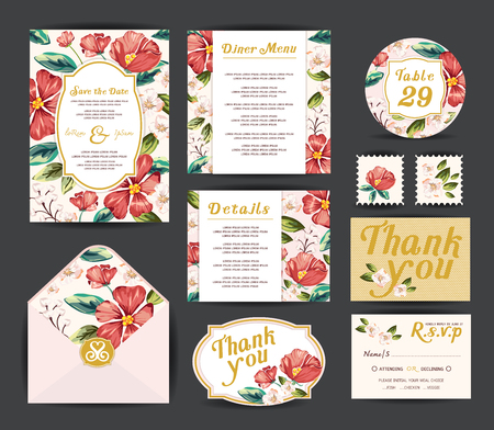 결혼식 꽃 템플릿 컬렉션입니다. 초대장, 벡터