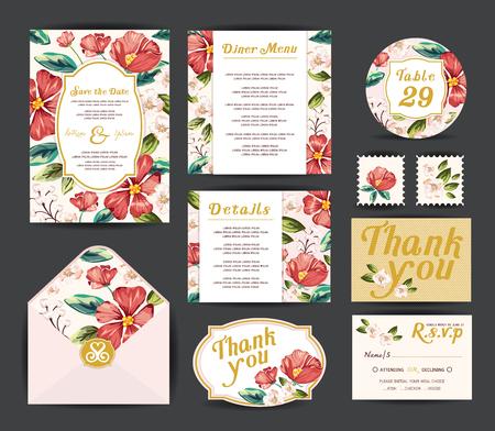 Wedding floral template collection.Wedding invitation, vector Çizim