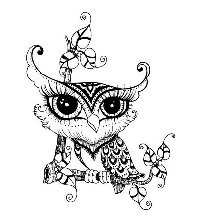 stylized Black Owl. vector doodle Illustration