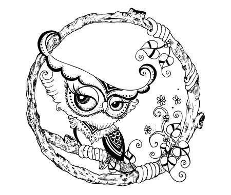 stylized Black Owl. vector doodle Çizim