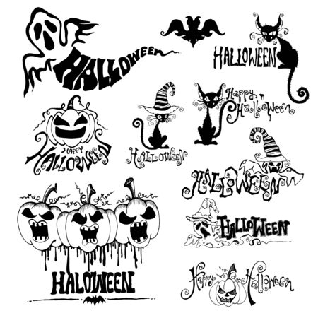 Set of silhouettes for Halloween party. vector doodle. Stock Illustratie