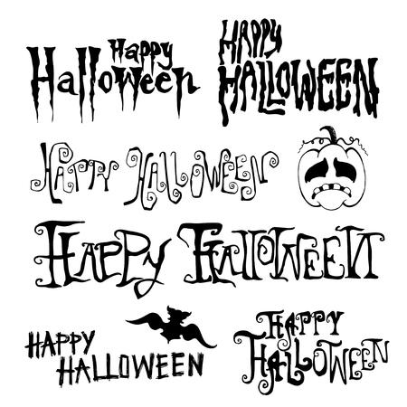 Gelukkig Halloween Day handgetekende typografie, doodles vector illustratie Stock Illustratie