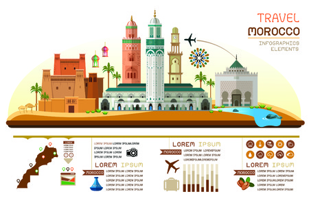 morocco travel infographic. Vector travel places and landmarks.