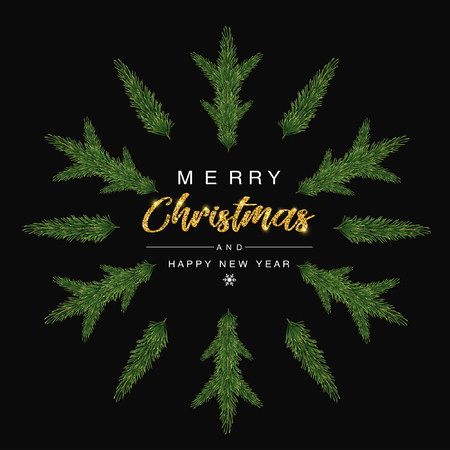 Merry Christmas and happy new year invitation Trendy with Christmas tree designs on snow flakes. Poster, card, label, banner design. Vector illustration. Illustration