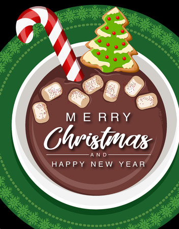 Christmas hot chocolate cup with candy cane cookies and marshmallows. Christmas greeting card design element.vector illustration.