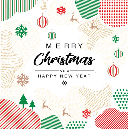 Merry Christmas and happy new year invitation Trendy with Memphis style Poster, card, label, banner design. Vector illustration.