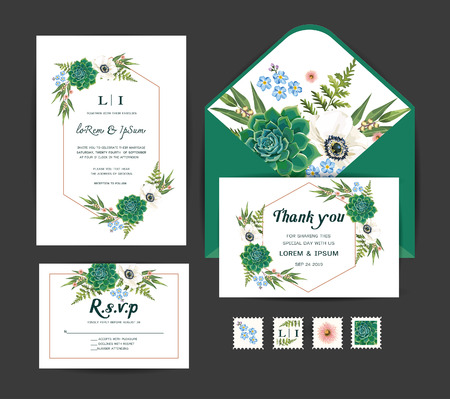 Wedding invitation, rsvp, thank you card design with anemone flowers, cactus. Vector template set