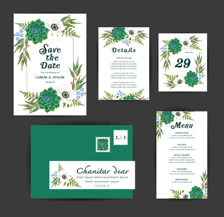 Wedding floral invitation, save the date,  details , menu card design with white anemones, cactus . Vector art template.