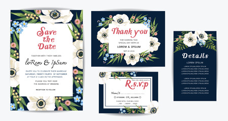 Wedding floral template collection.Wedding invitation, vector Illustration