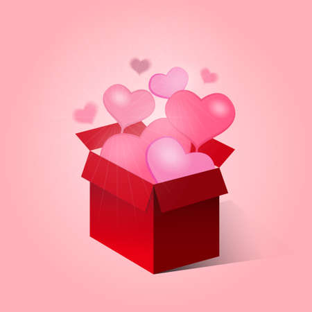 red gift box: open red gift box with flow hearts Illustration