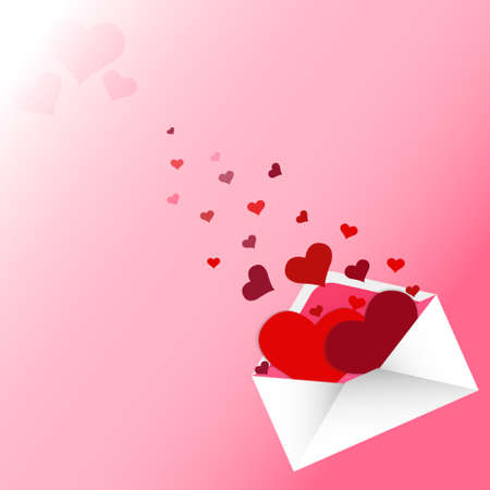 red hearts in love letter on pink background