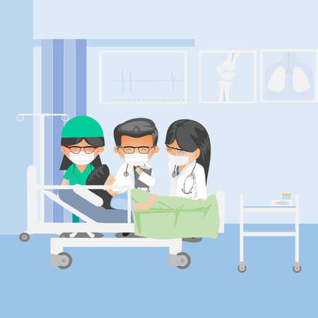 Doctor check patient health condition. Doctors treating the patient, Hospitalization of the patient. Doctors visit to ward of patient woman lying in a medical bed. Illustration in a flat style