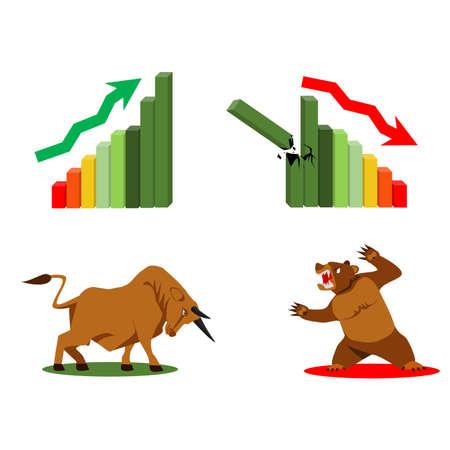stock exchange, business vector logo design template. money, bull and bear icon. flat illustration. Bull and Bear paper art and red bar paper art for stock market vector and illustration.