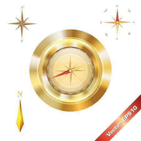 direction magnet: Digital golden compass for art. Illustration