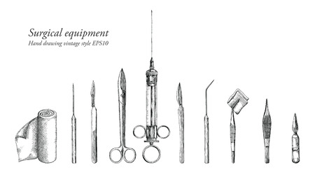 Surgical equipment set hand drawing vintage style. Illustration