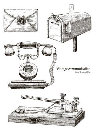 Main de matériel de communication rétro dessinant le style vintage