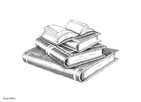 Bücher stapeln Handzeichnung Vintage-Stil schwarz und weiß Linie Standard-Bild - 82350284