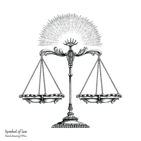 Law symbol hand drawing vintage style,Balance of law Illustration
