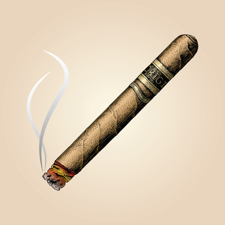 Cigar hand drawing vintage style