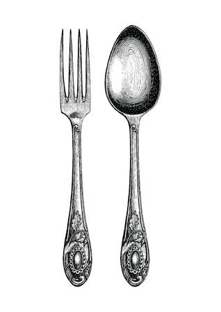 Vintage spoon and fork hand drawing,Spoon and fork sketch art isolate on white background
