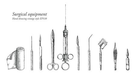 Surgical equipment set hand drawing vintage style Vektoros illusztráció
