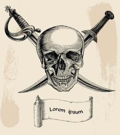 Skull with crossed swords,Pirate symbol,Logo hand drawing vintage style with banner