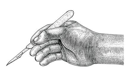 Doctor mano sujetando el bisturí, estilo vintage dibujo quirúrgico sobre fondo blanco. Ilustración de vector